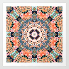 Textured Kaleidoscope Mandala Art Print