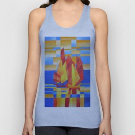 Sailing on the Seven Seas so Blue Cubist Abstract Unisex Tank Top