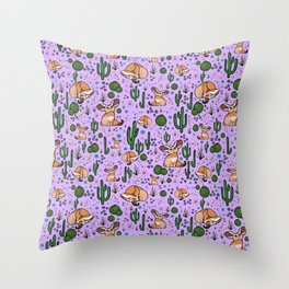 Fennec Foxes in Purple Throw Pillow