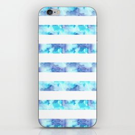 Blue & Purple Watercolor Stripes iPhone Skin