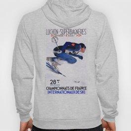 1938 Luchon Superbagneres France Ski Poster Hoody