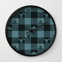 Fox and Bear Plaid #3 BLUE Wall Clock
