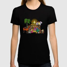 Christmas Nativity Cartoon Doodle T-shirt