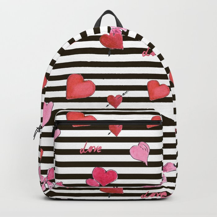 Valentines Day pattern watercolor hearts on striped Backpack