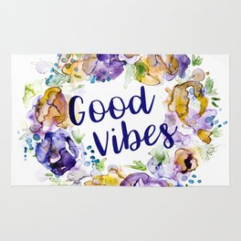 Good Vibes - Floral wreath watercolor Rug