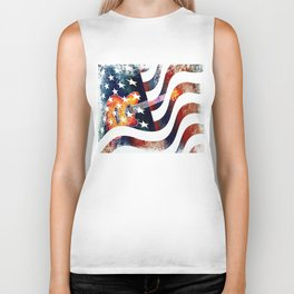 Country Music Guitar And American Flag By Annie Zeno  Biker Tank