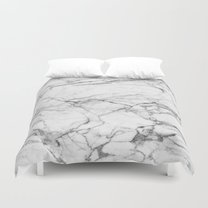 White Marble Stone Bettbezug