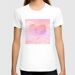 Planet Heart on Pink Sky T-shirt