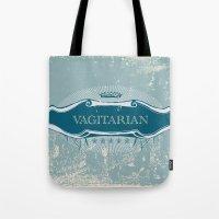 lesbian Tote Bags featuring VAGITARIAN LESBIAN by SLANTEDmind.com