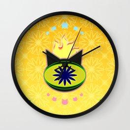 Flaming Feline Eye Wall Clock