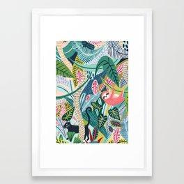Jungle Sloth & Panther Pals Framed Art Print
