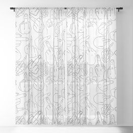 Middle Finger Party Black White Sheer Curtain