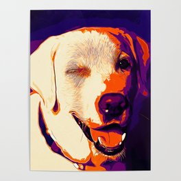 labrador retriever dog winking vector art late sunset Poster