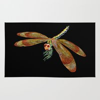 dragonfly Area & Throw Rugs featuring Dragonfly by Tim Jeffs Art