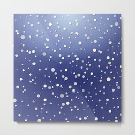 Winter Snow Navy Blue Ombre Background Metal Print