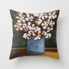 Bouquet of cotton in tin can Throw Pillow