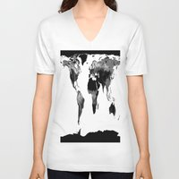 map of the world V-neck T-shirts featuring World Map  Black & White by WhimsyRomance&Fun
