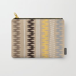 Neutral Lines With Yellow Blue Minimal Abstract Carry-All Pouch