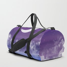 night time seascape with jumping dolphins Duffle Bag