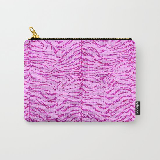 Light Pink Glitter Tiger Print Carry-All Pouch