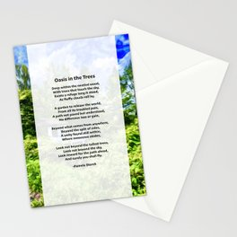 Oasis in the Trees Poem Stationery Cards