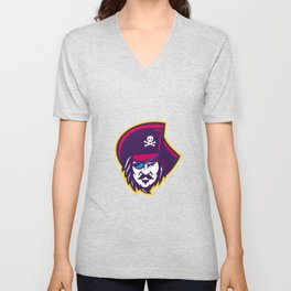 Privateer Pirate Head Mascot Unisex V-Neck