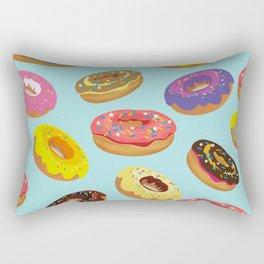Donuts Pattern Kitchen Home Decor Sky Blue Art Print Donuts Poster Decoration Cartoon Graphic Design Rectangular Pillow
