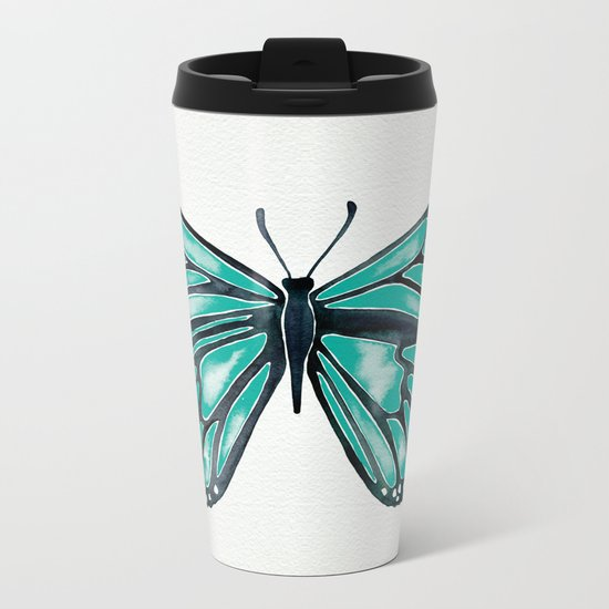 Turquoise Butterfly Metal Travel Mug