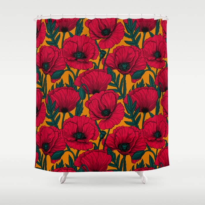 Red poppy garden    Shower Curtain