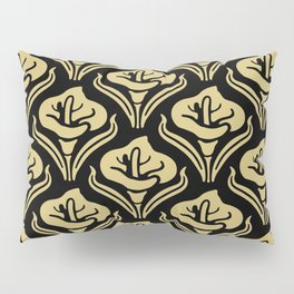 Calla Lily Pattern Black and Gold Pillow Sham
