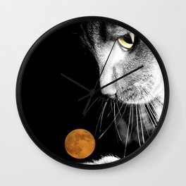 Silver Cat and Moon Wall Clock