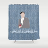 moriarty Shower Curtains featuring The Reichenbach Fall - Jim Moriarty by MacGuffin Designs