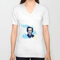 poe V-neck T-shirts featuring POE by Jon Cain