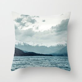 Snow-Capped Mountains Nestled By Blue Ice Lake Throw Pillow