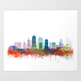 Kansas City Skyline Watercolor by Zouzounio Art Art Print