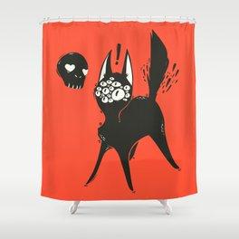 Creepy Cute Many Eyed Cat, Grunge Goth Artwork Shower Curtain
