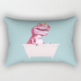 Pink T-Rex in Bathtub Rectangular Pillow
