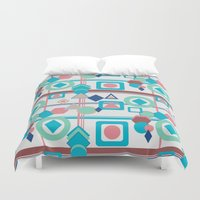 pantone Duvet Covers featuring Geometric Spring Pantone Palette by naturessol