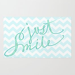 Just Smile - hand lettered calligraphy art print Rug