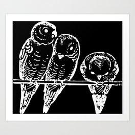 Three birds   Pudgies   Black Birds   Black Parakeets   Dark Arts Art Print