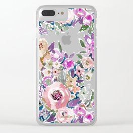 Mint SO LUSCIOUS Painterly Floral Clear iPhone Case