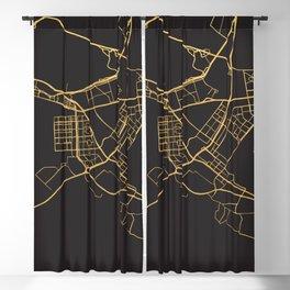 ABU DHABI UAE GOLD ON BLACK CITY MAP Blackout Curtain