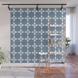 Droplets Pattern - Dusky Blue & White Wall Mural