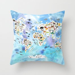 Cartoon animal world map, back to school. Animals from all over the world, blue watercolour watercolor Throw Pillow