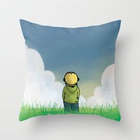 relax Throw Pillows featuring Relax by Janko Illustration