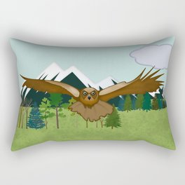 Owl Flies Across The Mountains Rectangular Pillow