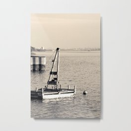New York's Hudson River - Sepia-toned Photography Metal Print