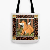 foxes Tote Bags featuring Foxes by Jack Teagle