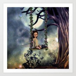 Cute little fairy with kitten on a swing Art Print