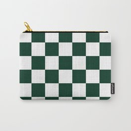 Checkered - White and Deep Green Carry-All Pouch